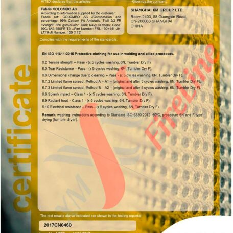 Colombo FR-Twill<br> ISO 11611 certificate
