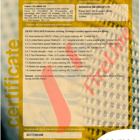 Colombo FR-Twill<br> ISO 11612 certificate