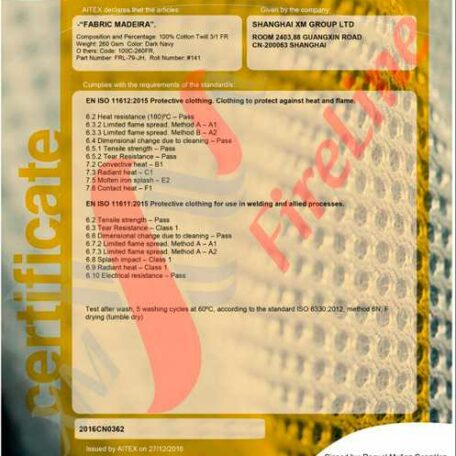 Madeira-260 FR- Twill<br>ISO 11612 certificate