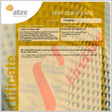 FR-Fleece-280 is certified to EN 1149-5