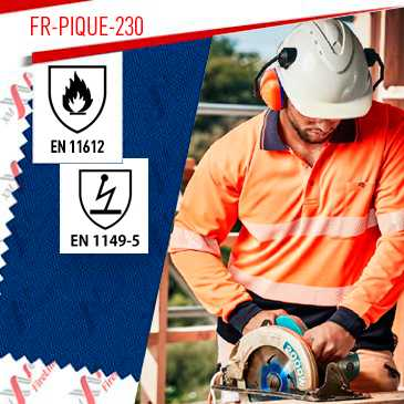 FR-Pique-230 fr-fabric is certified to EN 11612 & EN 1149