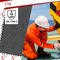 Etna flame retardant fabric certified to EN 1149-5:2018